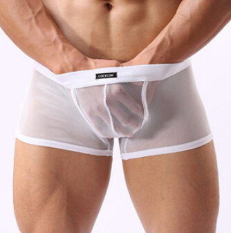 Hot selling!1pcs brand cockcon Mesh transparent sexy ultra-thin perspective pants are low-rise underwear gay boxers