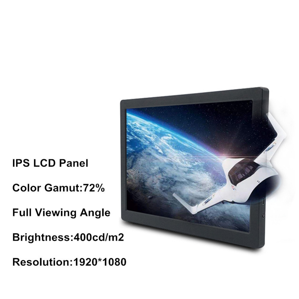 Portable 13.3 Inch IPS 1920*1080 LCD Monitor Type-c USB+HP+VGA+DP+HDMI For Computer/Laptop/PS3 PS4 XBOX NS/Smartphone/Tablet ...