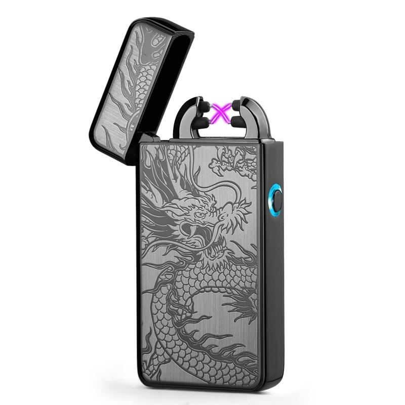 2018 Legújabb elektronikus USB töltés kettős íves könnyebb plazma eletronic pulzus öngyújtók Kínai sárkány alakzat könnyebb