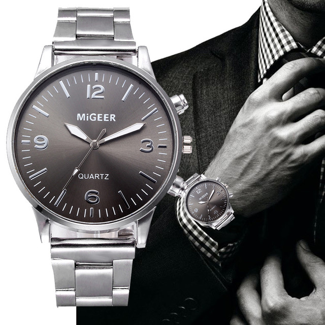 Mens Quartz Analog Watch Luxury Fashion Crystal Sport Wristwatch Stainless Male