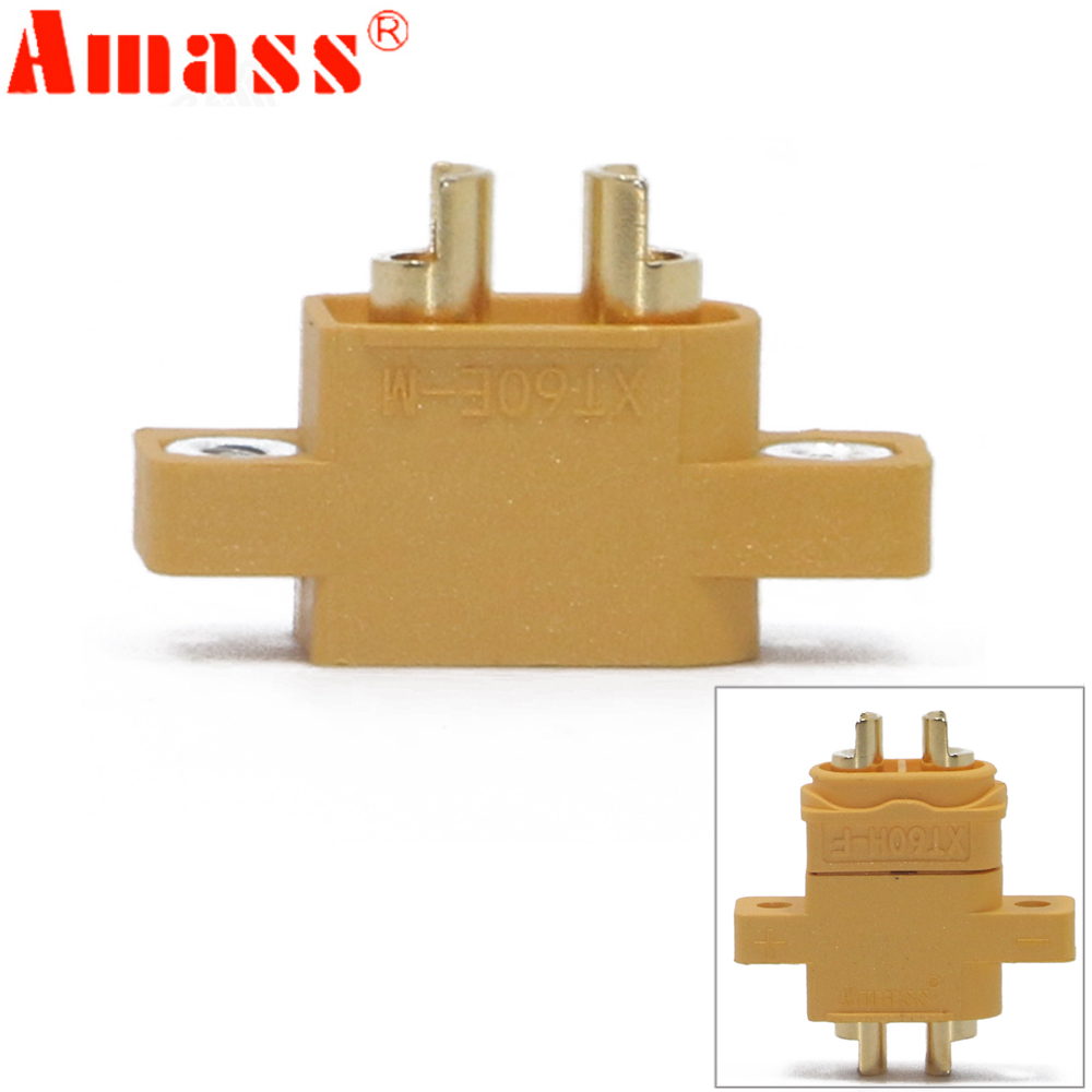 AMASS XT60E-M Mountable XT60 Male Plug Connector 4.23g For Racing Models Multicopter Fixed Board DIY Spare Part walkera rodeo 110 spare part upper fixed board