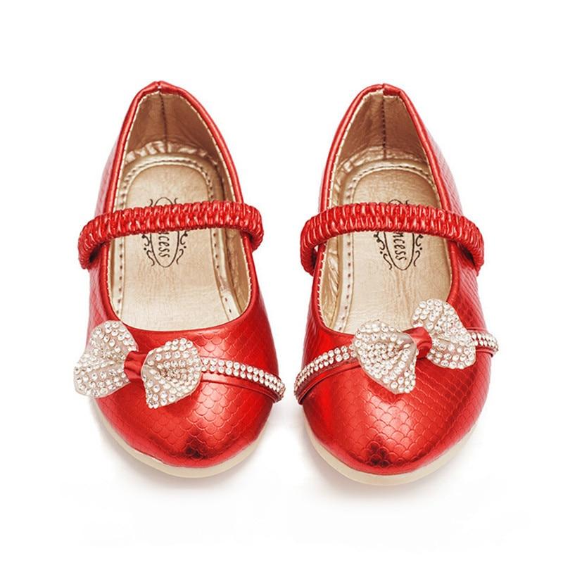 Girls Gold Rhinestone Dress Shoes Pointed Toe Bowtie Flat