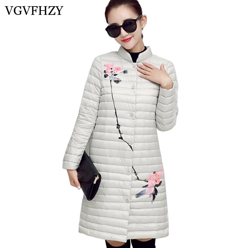 Women winter jacket 2017 Fashion print Women Jacket Female White Duck   Down   Parkas autumn Winter   Down     Coat   Light thin Outerwear