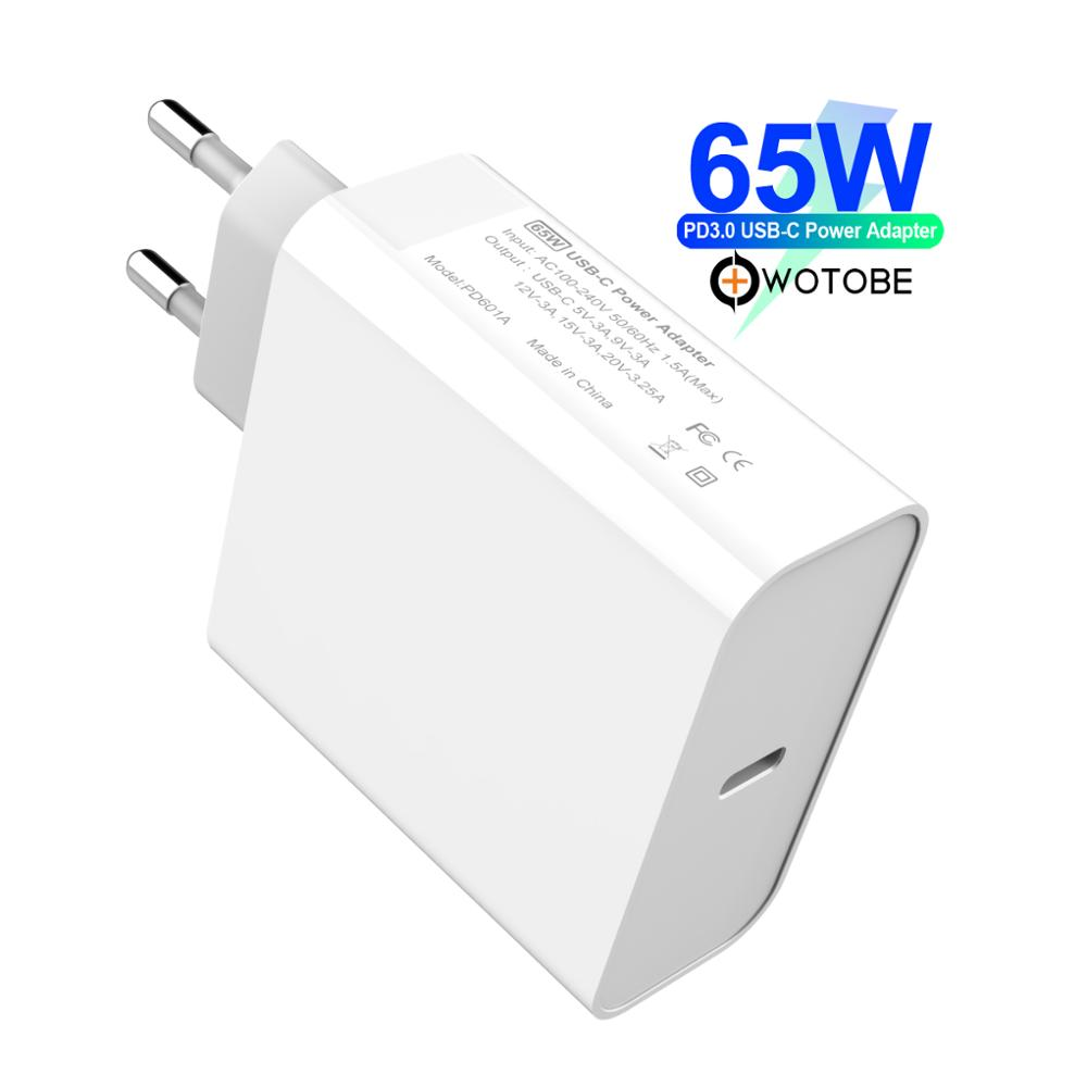 WOTOBE Type C Wall Charger, USB C 65W Power Adapter PD/QC3.0 For MacBook Pro/Air iPad Pro 2018 iPhone For Samsung huawei Nexus-in Mobile Phone Chargers from Cellphones & Telecommunications