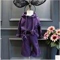 Новая мода девушки зимняя одежда 2016 фиолетовый Толстовки с капюшоном + брюки детская одежда набор детей костюм костюм верхняя одежда