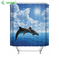 Waterproof Shower Curtain Polyester Material Seascape Bathroom Decorations Dolphin Shark Sea Lions 150 180cm 180 180cm