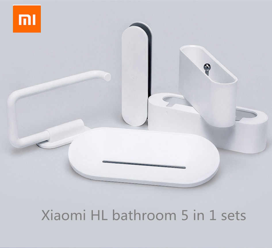 xiaomi mijia HL bathroom 5 in1 sets for Soap Hook Storage Box and Phone Holder for Bathroom Shower Room Tool