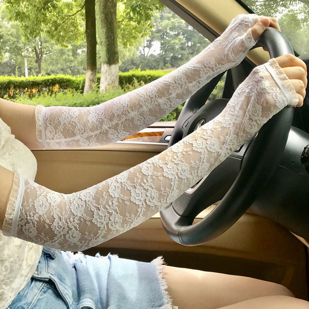 Long Sleeve Half Finger Gloves Women Elastic Summer Sun Proof Exquisite Gift Outdoor Lace  Fashion Driving Sexy Gloves #2