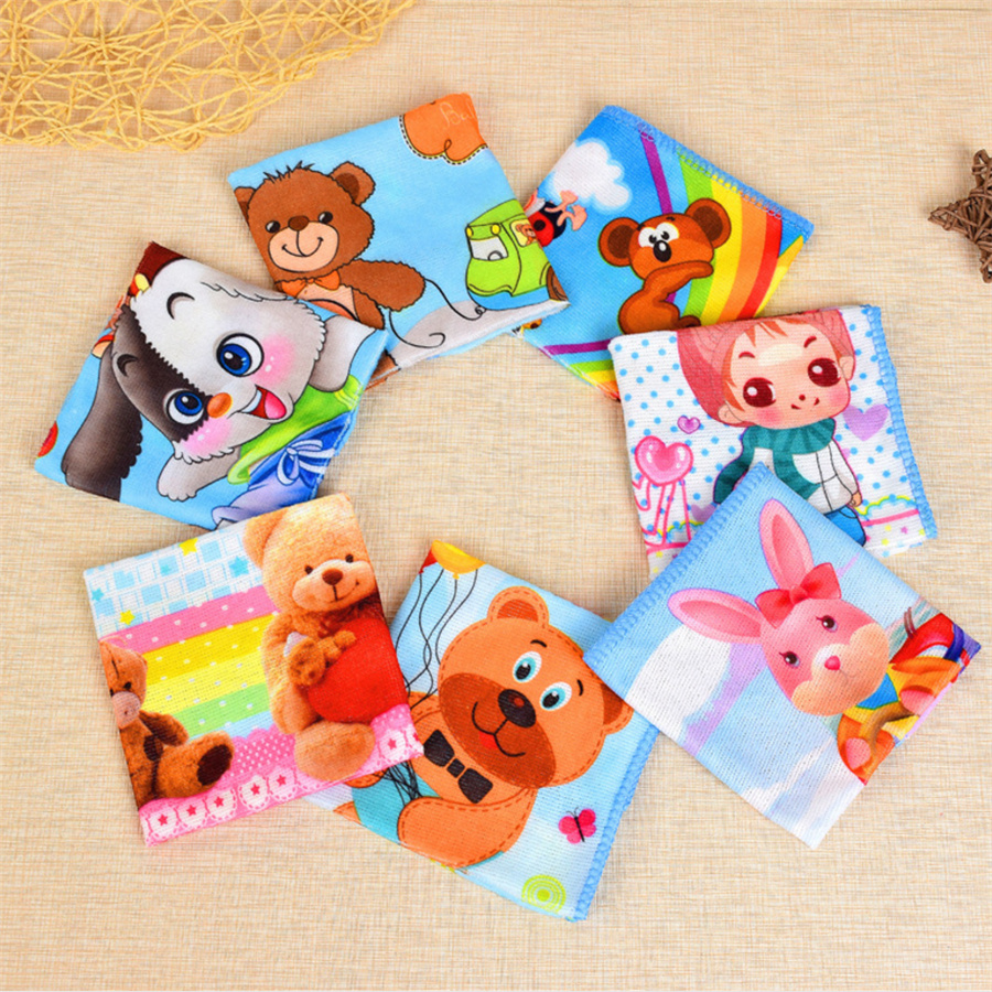 Microfiber Cartoon Blow Nose Baby Handkerchiefs Square Pocket Hanky Printed Handkerchief Children Portable 25*25CM AD0785