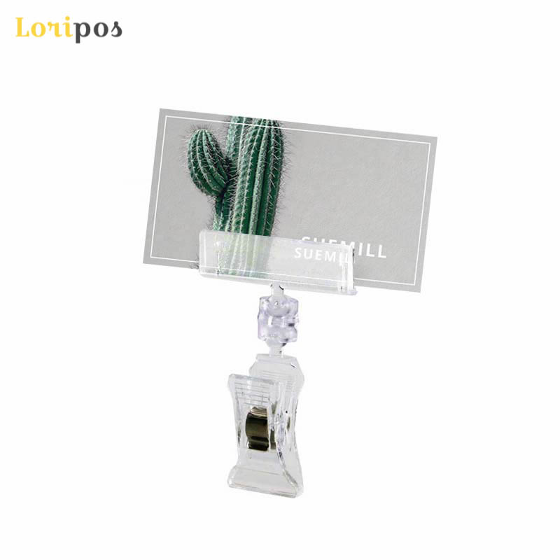 Clear POP Supermarket Retail Store Plastic Sign Clip Promotion Paper Card Holder Display Clip Label Holder Price Tag Snap 30pcs