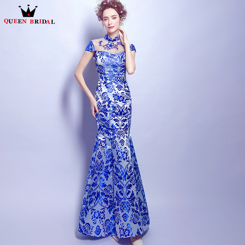 QUEEN BRIDAL Evening Dresses Mermaid High Neck Embroidery Sexy Women Party Prom Dress Gowns 2018 Vestido