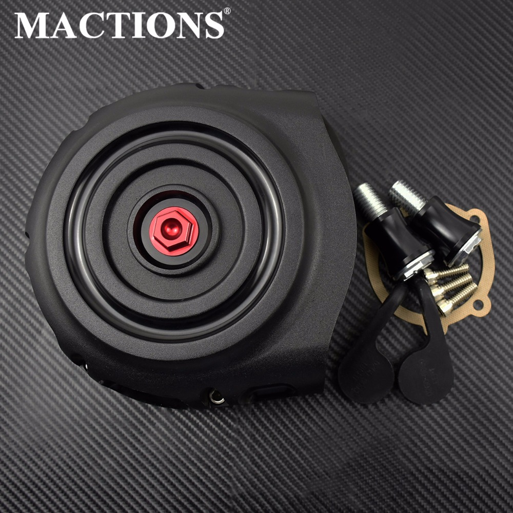 Black Air Cleaner Filter Intake w Red Spike For Harley Sportster XL 04 up Twin Cam