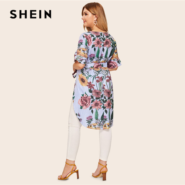 SHEIN Plus Size Multicolor High Low Floral And Striped Top Blouse With Belt 2019 Women Summer Boho Boat Neck Blouses Shirt 2