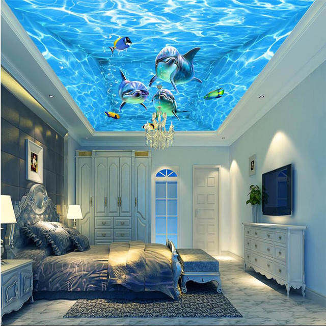 Murals Wall Paper Modern Art Top Beach Deep Blue Sea Water Ripples Swim  Dolphins Home Decor Part 37