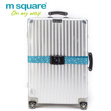 M Square Elastic Luggage Strap Belt Trolley Suitcase Adjustable Travel Luggage Belt with TSA Lock Cross Packing Strap Buckles
