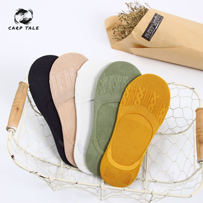 Spring And Summer New Women's Three-Dimensional Breathable Comfortable Non-Slip Invisible Boat Socks Solid Color Casual Socks