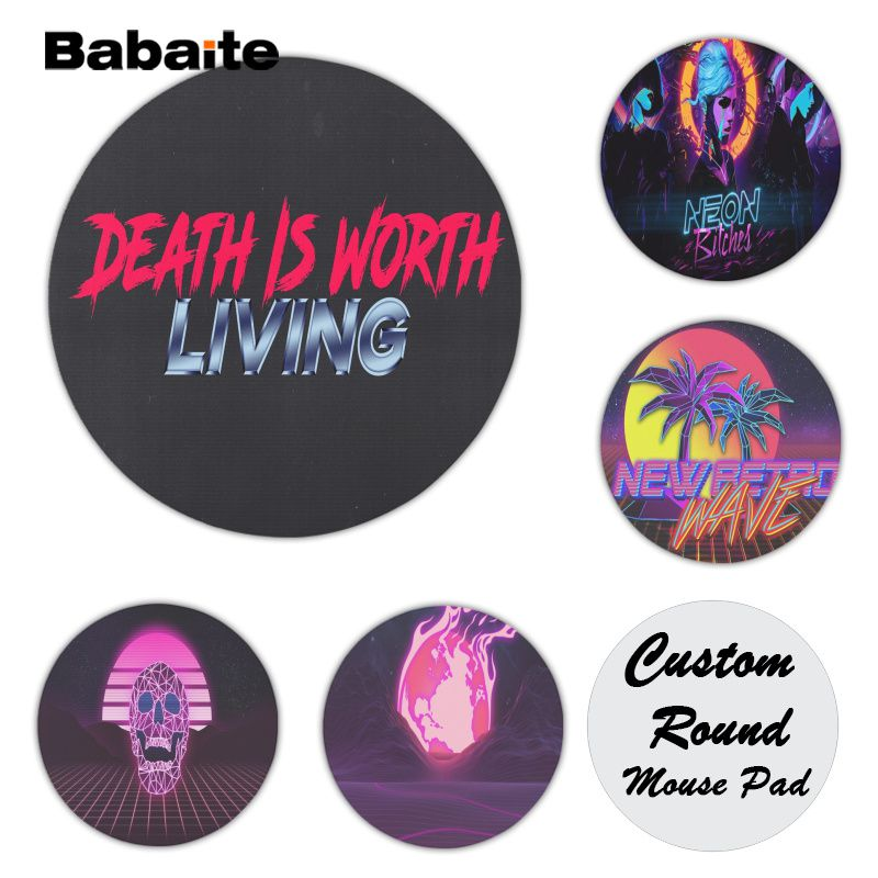 Babaite Personalized Cool Fashion Retro wave Silicone Pad to Mouse Game Size for 200*200*2mm and 220*220*2mm Round Game Mousepad