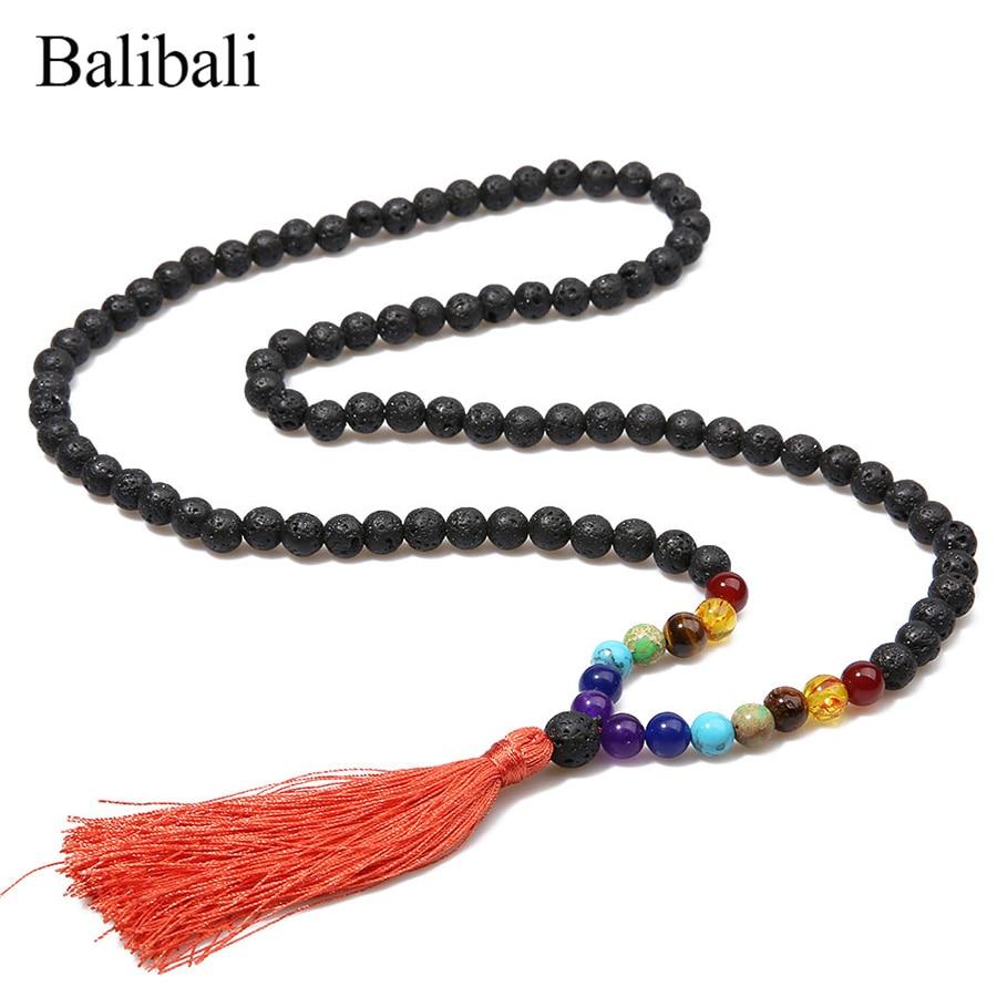 Balibali קלאסי 7 צ 'אקרה שרשרת גברים שחור - תכשיטי אופנה
