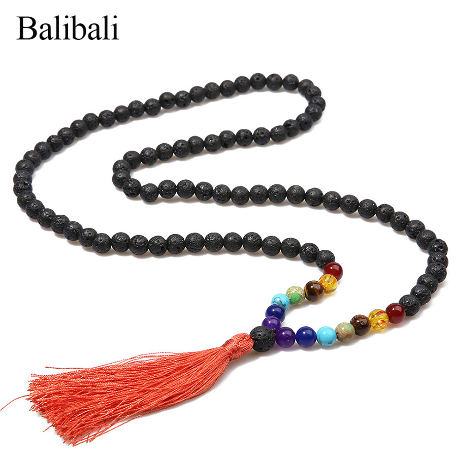 Balibali Classic 7 Chakra Necklace Férfi Fekete Lava Stone Mala - Divatékszer