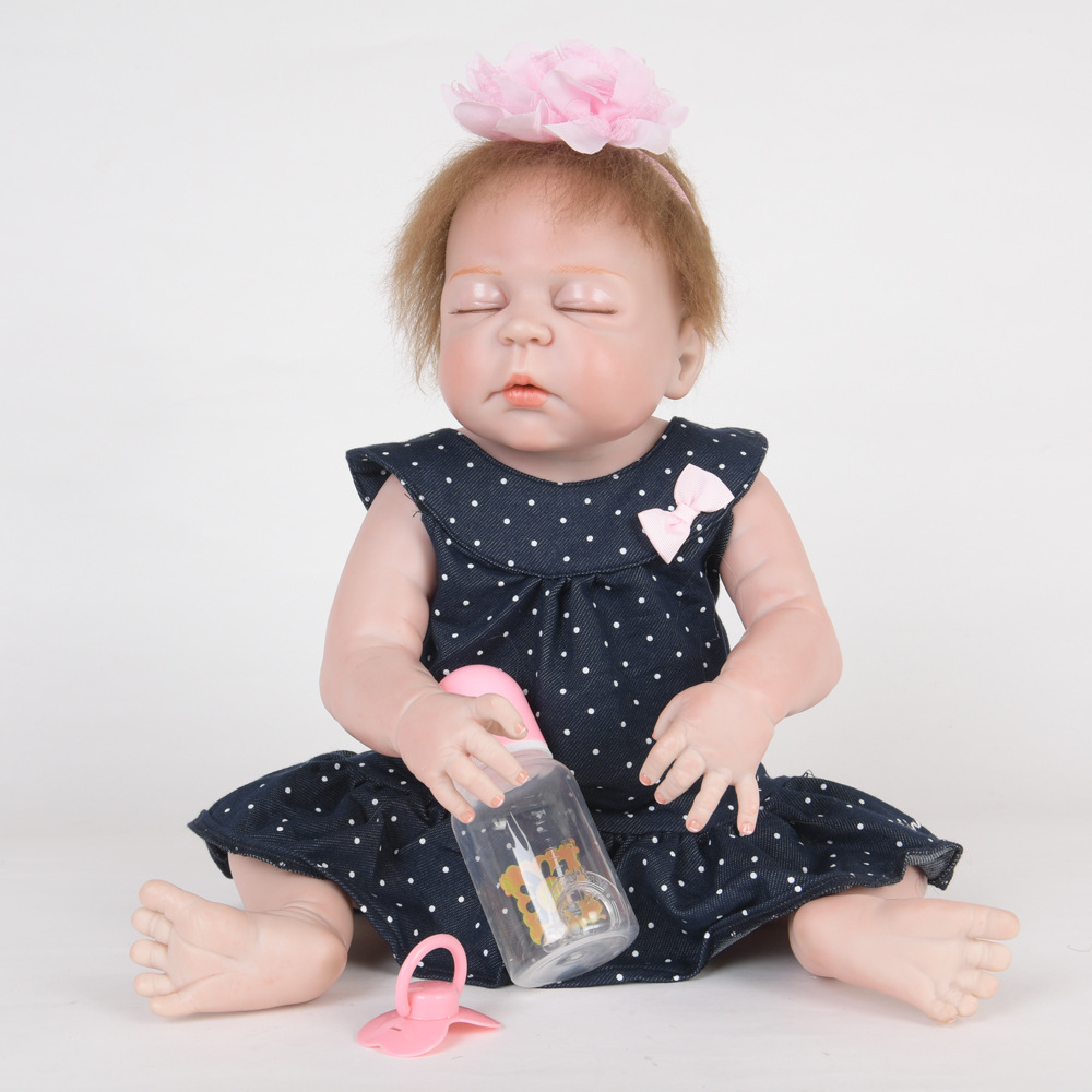 55cm Soft Full Silicone Reborn Baby Realistic Sleeping Newborn Princess Girl Doll for Kids Toy Christmas Birthday New Year Gift недорого
