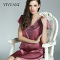 100% Genuine Silk Nightgown Female Sexy Lace V-Neck Night Gowns Short Sleeve  Embroidery Real Silk Sleepwear S55115