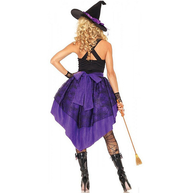 Halloween Party Witch Costume Women Swallow Tail Braces Dress Hat