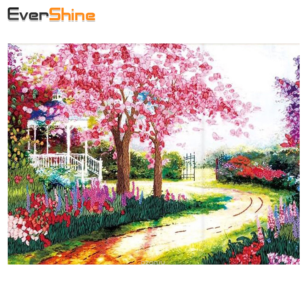 evershine full diamond painting tree garden square diamond embroidery mosaic cross stitch european home decoration