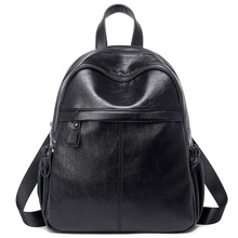 Ms. PU Shoulder bag Fashion Leisure Wild New Large-Capacity Soft Leather Backpack Waterproof Black Backpack