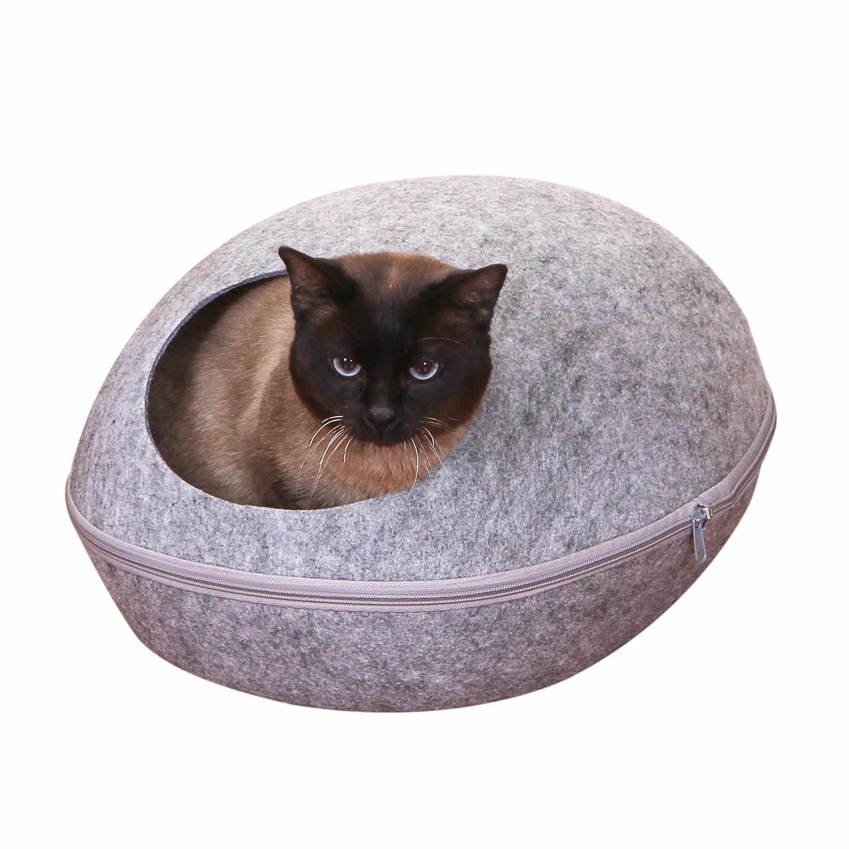 Gomaomi Dog Cat Felt Bed Sleeping Bag Zipper Egg Shape Warm Pet House Nest