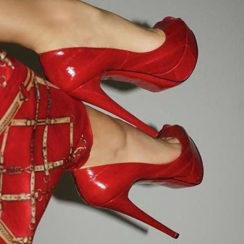 SHOFOO Shoes, Fashion Beautiful Free Shipping, Red PU, 14.5 Cm High Heel Shoes,  Peep Toe Pumps. SIZE:34-45