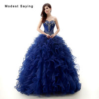 Elegant Royal Blue Ball Gown Sweetheart Beaded Lace Ruffled Quinceanera Dresses 2017 Girls Party Prom Gowns vestido de debutante