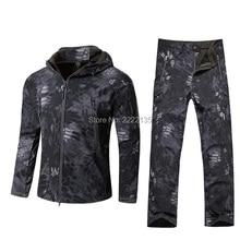 TAD тактический для мужчин Акула кожа водонепроницаемый с капюшоном армии Охота Туризм Рыбалка одежда костюм камуфляж военная куртка+ брюки