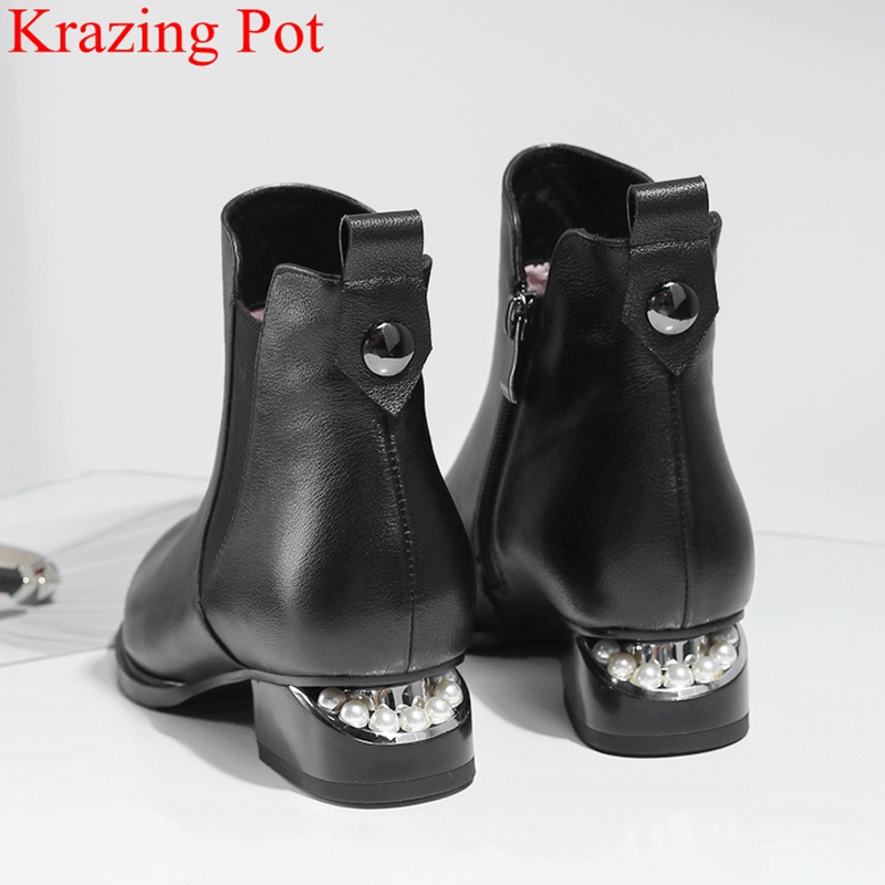 2018 superstar big size genuine leather zipper ankle boots elegant pointed toe Chelsea boots party pearl heels winter shoes L2f5 цены онлайн