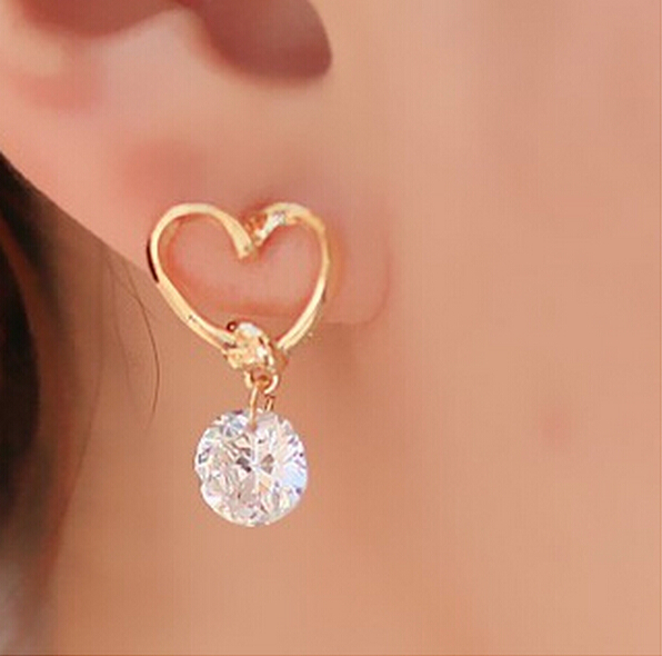 Penntes 2017 New Fashion Jewelry Love Hearts Cz Diamond Stud Earrings For Women Wedding Gifts Brincos