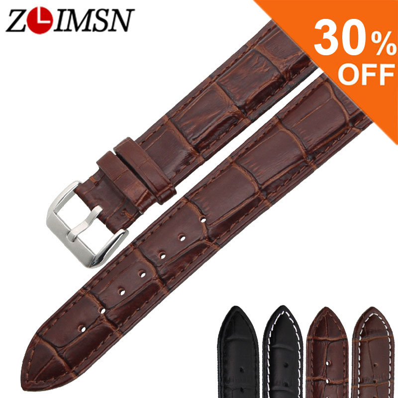 ZLIMSN New watch bracelet belt Brown Black watchband genuine leather strap watch band 18mm 20mm 22mm watch accessories wristband zlimsn genuine leather watchband bracelet 24mm 22mm 20mm thick watch strap belt with clasp wristwatch accessories band