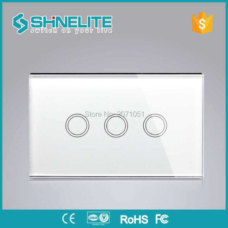 Shinelite AU/US Standard Smart Capacitive 3 Way Touch Control Wall Panel Light Switch LED Backlight ,Crystal Glass Panel wall light touch sensor switch 3gang1way golden glass panel led us au standard touch switches ac220v 110v smart home