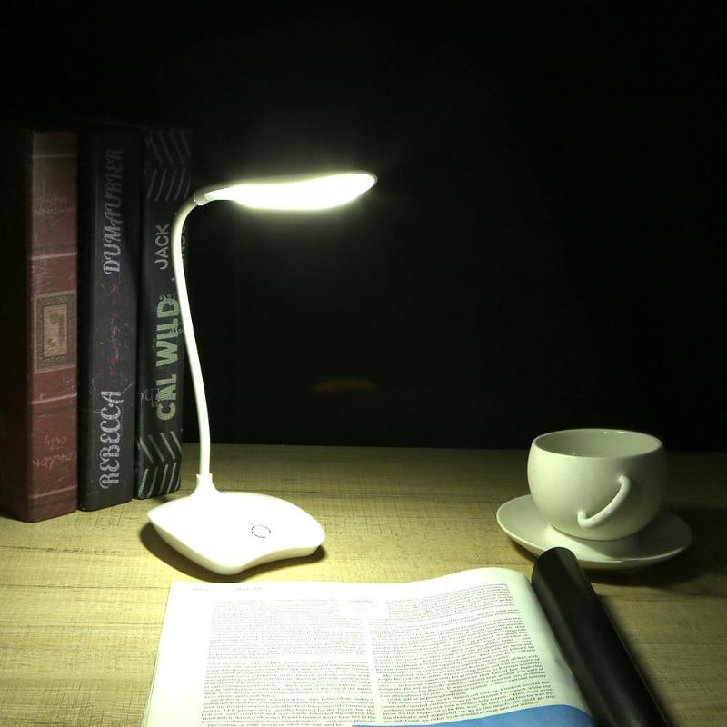 14 LED Table Reading Lamp Foldable Desk Lamp USB Rechargeable Touch Sensor Desk Lamp 3 Level Dimmable Reading Study White Light icoco led touch dimmer desk lamp usb rechargeable student study reading lamp foldable led desk lamp with calendar