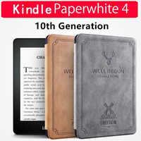 """Nouvel étui pour Kindle Paperwhite 6 """"2018 couverture de livre électronique Vintage en silicone souple pour Amazon Kindle Paperwhite 4 10th génération + Film + stylo"""