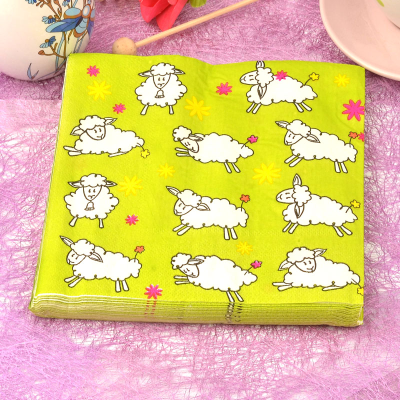 Lovely cartoon sheep Napkin Tissue Decoration 33cm*33cm 20pcs/pack for Childrens party
