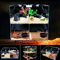 Acrylic Pet Reptile Tank Insect Spiders Lizard Breeding Box Tortoise Snakes House Cage Terrarium Reptiles Supplies 4 Grids