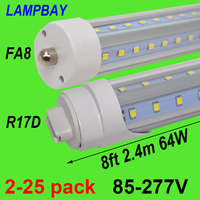 2 25pcs V Shaped 8ft 2.4m LED Tube Light 48W 64W Single pin FA8 R17D HO F96 T8T10T12 Fluorescent Lamp Super Bright Retrofit Bulb