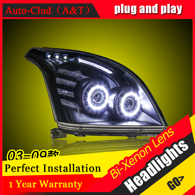 Car Styling For toyota PRADO headlights 2003-09 For PRADO head lamp Angel eye led DRL front light Bi-Xenon Lens xenon HID KIT hireno headlamp for 2003 2009 toyota land cruiser prado headlight assembly led drl angel lens double beam hid xenon 2pcs