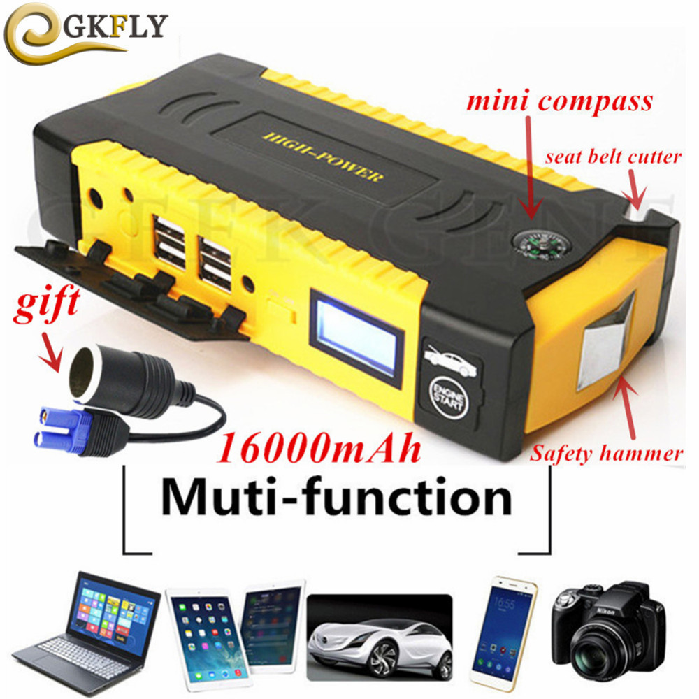 High Capacity 16000mAh Car Jump Starter 600A 12V Starting Device Portable Power Bank Car Starter For Car Battery Booster Charger(China)