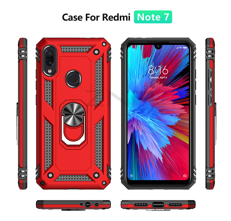 ZNP Luxury Armor Stand Case For Xiaomi And Redmi Note 7 8 Pro With Magnetic Ring Holder 12