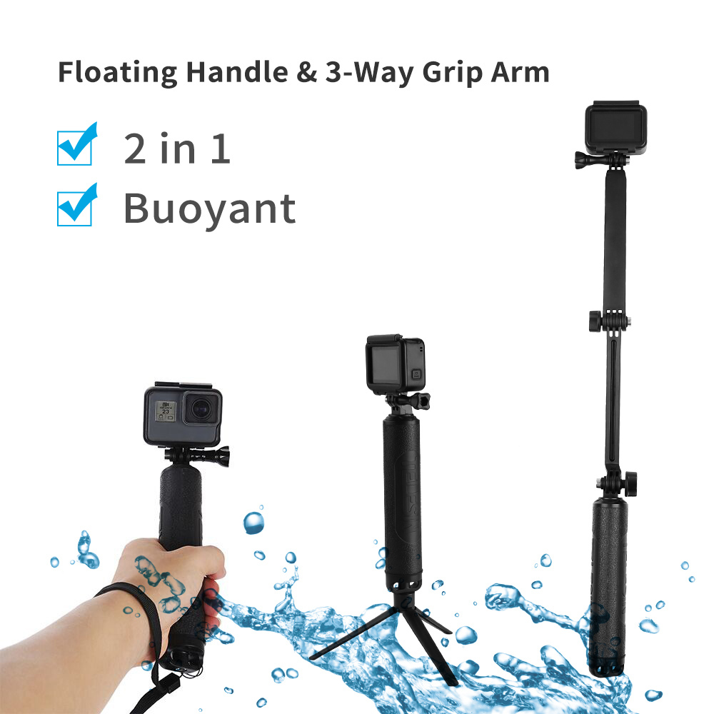 TELESIN Waterproof Selfie Stick Long Floating Hand Grip 3-Way Grip Arm Monopod Pole Tripod for GoPro Xiaomi YI SJCAM EKEN Camera