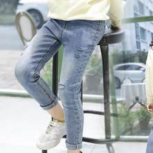 Girls Ripped Jeans Pants 2019 New Toddler Kids Casual Denim Long Pants Cowboy Children Trousers Jean Enfant Fille 10 12 14 Years(China)