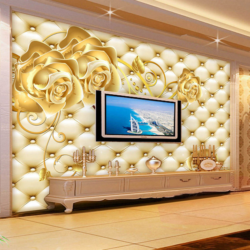 3D Wallpaper Golden Rose Soft Pack European Style Photo Wall Mural Hotel Living Room TV Sofa Backdrop Luxury Interior Wallpaper