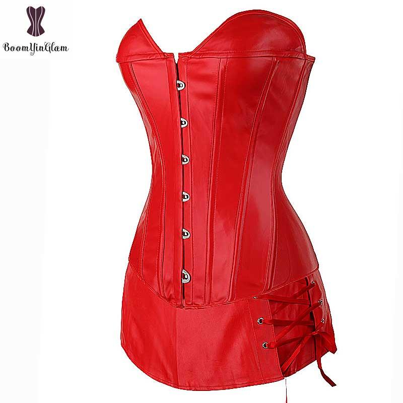 Red Faux Leather Corset Dress Suit Overbust Busiter Suit Plus Size Sexy Corselet Black Party Club Wear Fish Boned Gothic Korset 12