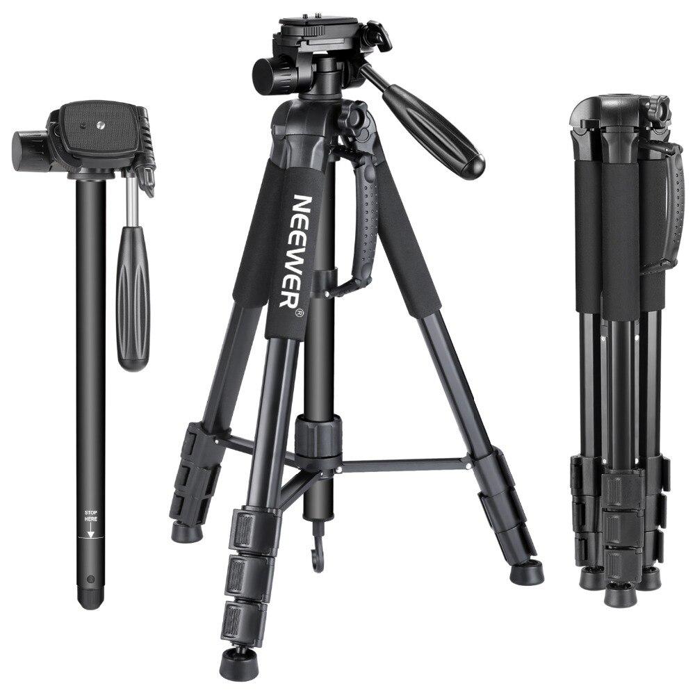Neewer portátil 70 pulgadas/177 cm cámara de aleación de aluminio trípode monopié con 3 vías giratoria Pan Head bolsa de transporte para Sony/Canon