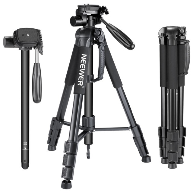 Neewer Portable 70 inches/177 cm Aluminum Alloy Camera Tripod Monopod with 3-Way Swivel Pan Head Carrying Bag for Sony/Canon